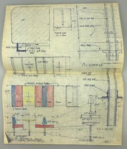 "14""x11"" 1962 Vintage Blueprint Architectural Rendering MID-CENTURY Holiday Inn D"