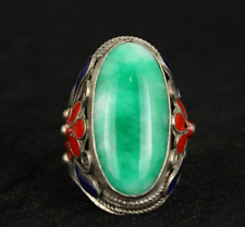 Superb Old Handwork Natural Green Jade Tibet Silver Enamel Flower Adjust Ring