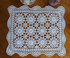 Hand Crochet Lace 3D Flower Cotton Doily Placemat Topper Rectangle 42x48CM White