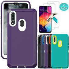 For Samsung Galaxy A20S Case Heavy Duty Hybrid Hard Cover Glass Screen Protector