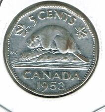 1953 Canadian Circulated  Elizabeth II five Cent Coin!
