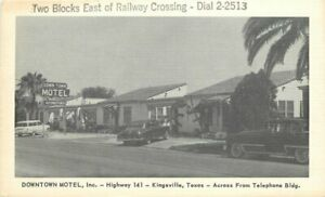 Autos Kingsville Texas National Downtown Motel Roadside 1950s Postcard 20-6343