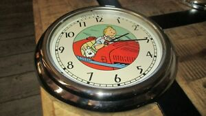 Tintin-Horloge inox 30 cm-Tintin&Milou Cigares du Pharaon-Fonctionne-1993