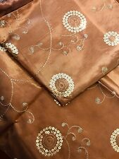 """2 Pack Embroidered Silk Decorative Pillow Cover 16""""x16"""" Copper Two Tone Gold"""