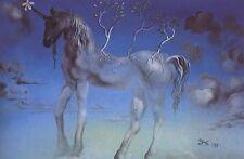 More details for the happy unicorn salvador dali reproduction art print a4 a3 a2 a1