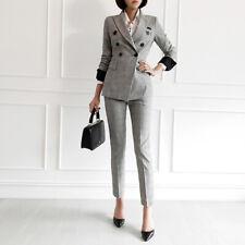 Tailleur completo grigio giacca manica lunga e pantalone elegante 4910
