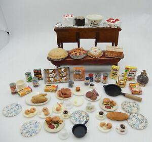 Vintage Food Lot Croissant Hamburgers Cakes Plates Dollhouse Miniature 1:12