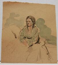 """Aquarelle Original  PAUL COUVREUR """" Portrait Femme Assise """"  1930 - PC106"""