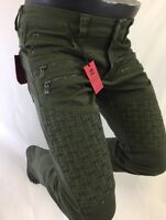 Mens Jean VICTORIOUS Straight Leg DESTROYED GREEN WEAVED ZIPPERS PATCH DL1043