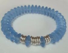 Clear blue frosted glass beads, & Links Of London silver rings Bracelet