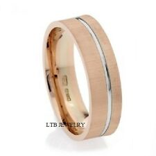 MENS 10K ROSE & WHITE GOLD WEDDING RINGS,TWO TONE SOLID GOLD 6MM WEDDING BANDS