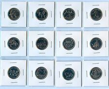 Full Set (12 coins) Canada 1999 BU Millenium Series Quarter 25 cents coins