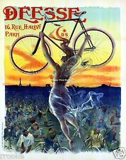 Paris France Nude Fairy Deesse Bicycle Advertising Fine Art Print / Poster