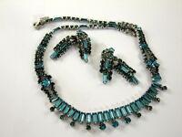 KRAMER OF NEW YORK Vintage Blue Rhinestone Necklace Earrings Clip  Mid Century