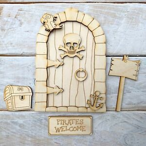 Plywood 13.5cm high Fairy Door Pirate Lost boys Blank Craft Kit Pirate SFP
