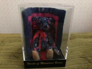 World of Miniature Bears # 481 FLORA Bear w Quilt in Cube w COA
