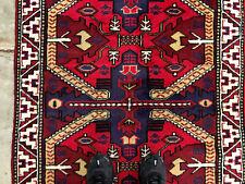 4x6 Vintage Wool Rug Hand Knotted geometric oriental antique handmade 3x7 3x6
