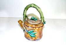 Chinese Teapot with Frog on Lid, Pottery Bamboo Handle and Spout