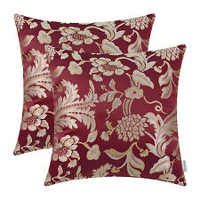2pcs Burgundy Cushion Covers Pillows Cases Jacquard Floral Home Decor 50 X 50cm