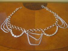 Vintage Ladies Silver Tone Metal Chain Belt - Pre-owned