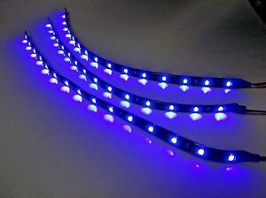 "3 BBT 12"" Flexible Waterproof 12 volt Blue LED Landscape Light Strips"