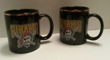 Pittsburgh Pirates Set of 2 Coffee Mugs Black with Gold Rim MLB from Linyi