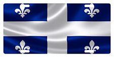 Quebec Canada Flag Custom License Plate Fleur-de-lis Emblem Wave Version