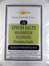 Epsom Salts 3kg -PREMIUM GRADE- bath salts, great for muscles magnesium sulphate