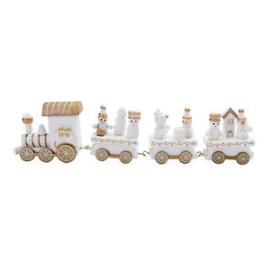 Chest White Hand Painted Christmas Themed Wooden Mini Train