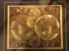 """Mappe-Monde Geo Hydrographique Du Globe Gold Foil Map 31 3/8 """" X 25 1/2� Picture"""