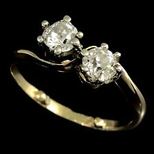TOI ET MOI Antique 18K 750 Yellow Gold & Platinum Old European Cut Diamond Ring