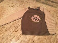 Skyr Boys Sweater Sz 4 Dinasaur Pull Over sage green & tan or brown & tan