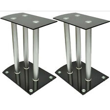 Aluminum Speaker Stands Holders Safety Glass Free Standing Black 2 Pieces