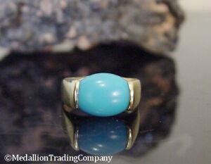 14k Yellow Gold Sleeping Beauty Persian Blue Tension Set Turquoise Band sz8 Ring