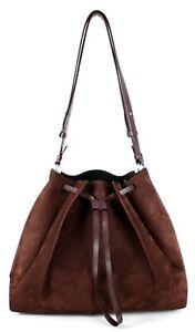 MAISON MARGIELA Maroon Calfskin Suede & Leather Drawstring Hobo Bag