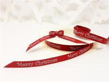 5mtrs Grosgrain Ribbon /MERRY CHRISTMAS 10mm Ribbon Deep Red Burgandy