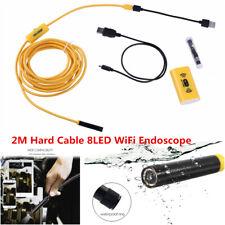 2M Hard Cable 8LED WiFi Endoscope Borescope 8mm Inspection HD 1200P Camera IP68