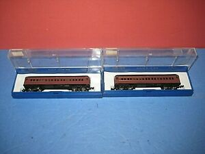 2  'N' Cars: Bachman: HW 65ft PRR standard coach cars, New, lighted C-9/ob sc