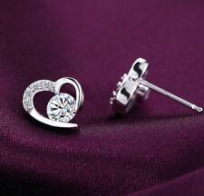 Women Romantic 925 Sterling Silver CZ Cubic Zirconia Heart Earring Stud Earrings