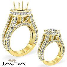 18k Yellow Gold Round Semi Mount 2.46Ct Split Shank Diamond Engagement Halo Ring