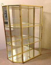 VINTAGE BRASS GLASS JEWELRY VANITY DRESSER TRINKET BOX WITH SHELVES. (D)
