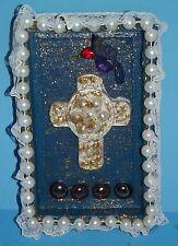 "Cross Wood Shadow Box w Bird Glitter Beads Lace Wooden Wall Art 8""x5 Handcrafted"