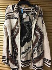 NWT Blu Pepper Brown Knit Western Print Cardigan Sweater Jacket Size Large L $98