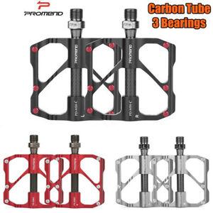 PROMEND Carbon Fiber Aluminum Road Bicycle MTB Bike Pedals 3 Bearing Flat Pedal