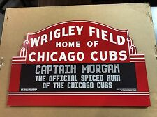 """Chicago Cubs Wrigley Field Captain Morgans Wood Wall Hanging Plaque 24""""x15"""""""