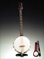 """NEW WOODEN 9"""" BANJO INSTRUMENT MUSIC BOX+CASE+STAND,""""OH SUSANNAH""""-JO23-RO"""