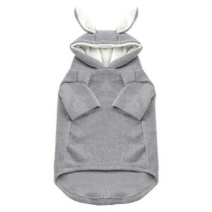 Cotton Dog Hoody With Rabbit ear Cute Dog Cat Clothes Gray ,Pink (XS-2XL)