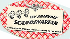 3 Saluting Stewardesses ~SAS SCANDINAVIAN AIRLINES~ Huge Old Luggage Label, 1955