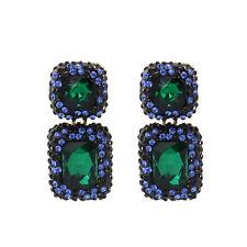 Orecchini`Orecchie Chiodo Dorato Nero Art Deco Rettangolo Verde Smeraldo