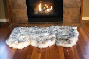 Genuine Australian Sheepskin  3- Pelt Rug Black-Tipped Color - **Free Shipping**